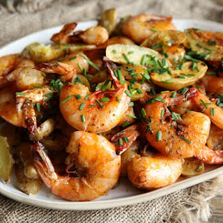 Old Bay Peel and Eat Shrimp with Roasted Fingerling Potatoes.