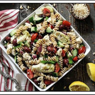 Mediterranean Pasta Salad (Vegan & GF).