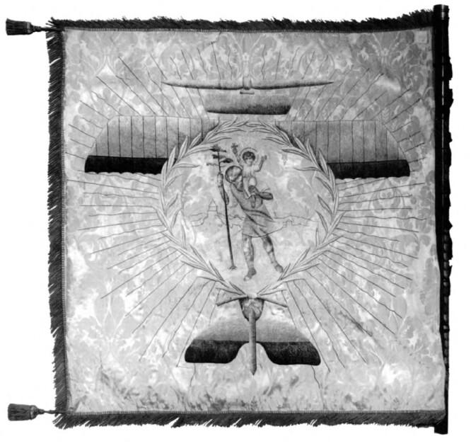 Флаг Первой Запорожской авиационной эскадры. Источник: Я.Тынченко, Герои украинского неба