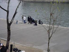 Photo: A Saturday afternoon walk takes us past the Seine, where we see a Goth movie being filmed (a young actress in all black and white make-up is barely visible).