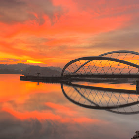Butterfly Reflection by William Cheng - Buildings & Architecture Bridges & Suspended Structures ( pwcbridges )