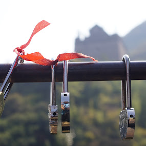 Love Locks by Amber O'Hara - Artistic Objects Still Life ( love, red, locks, great wall, china,  )