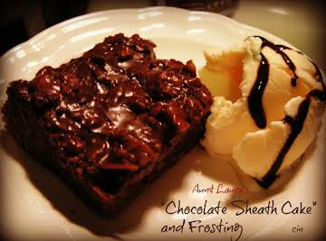 """Aunt Laura's """"Chocolate Sheath Cake"""" and Frosting"""
