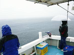 Photo: 風がないので傘がさせます。