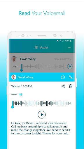 Voxist: Visual voicemail you can read 1.30.6 screenshots 3