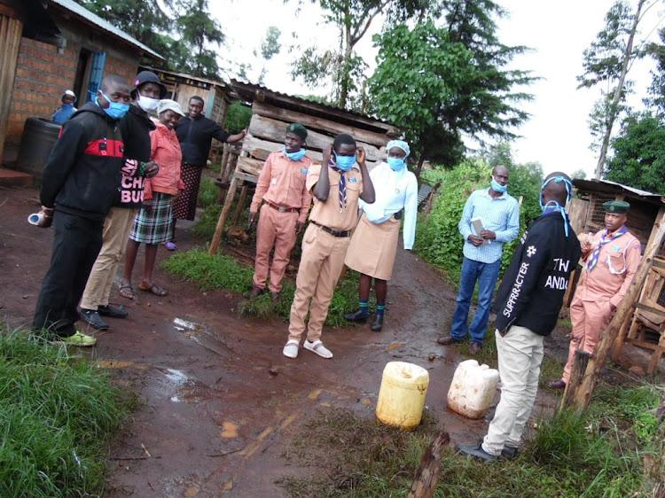 The team during the door to door awareness campaign.