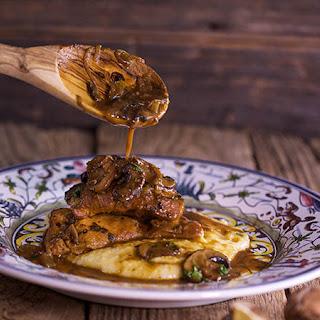 Chicken and Mushrooms with Taleggio Polenta