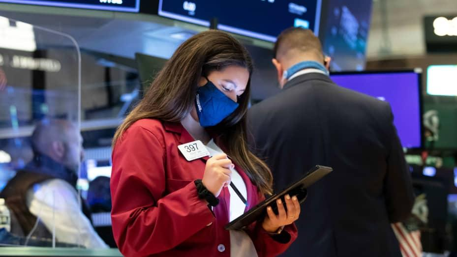 Traders on the floor of the New York Stock Exchange, June 18, 2021.