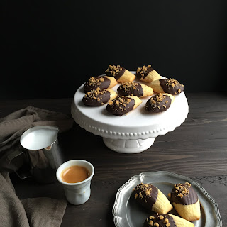 Orange Madeleines with Dark Chocolate & Honeycomb Candy.