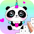 Unicorn Panda Pixel Art - Number Coloring Books APK