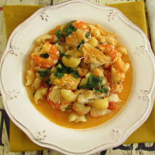 Pasta With Cod And Shrimp.