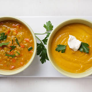 Spiced Carrot, Leek and Lentil Soup.