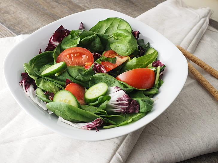 Royalty-Free photo: Vegetable salad on white ceramic bowl   PickPik