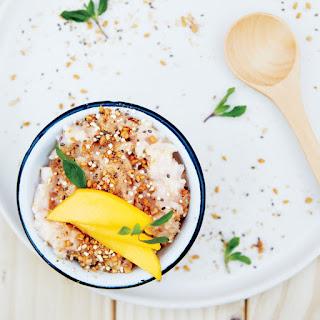 Rice Pudding with Ginger, Amaranth, and Mango.