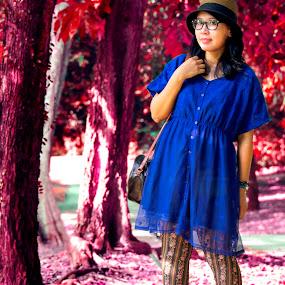 My Wonderland by Dee S. Alkhatib - People Portraits of Women ( geek, purple, park, vintage, wonderland, leaf, japanese, leaves, singapore, portrait, hat, girl, fall, summer, pink, flowers, fedora )