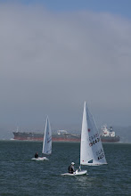 Photo: Heading out to the start line and trying to avoid the gargantuan container ships.