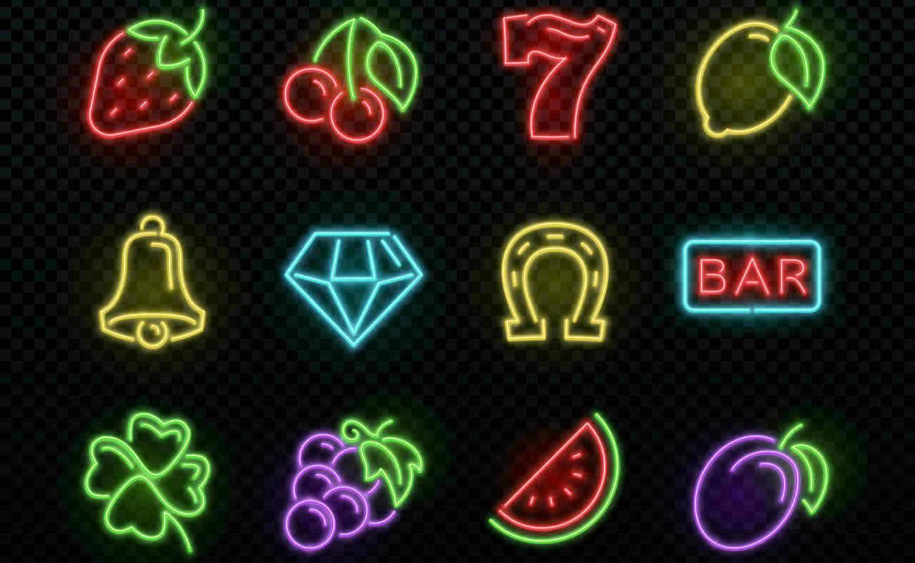 Slot machine bright neon vector symbols
