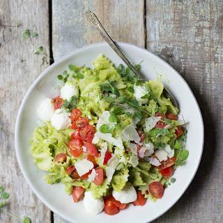 Caprese Pasta Salad with Asparagus Pesto.