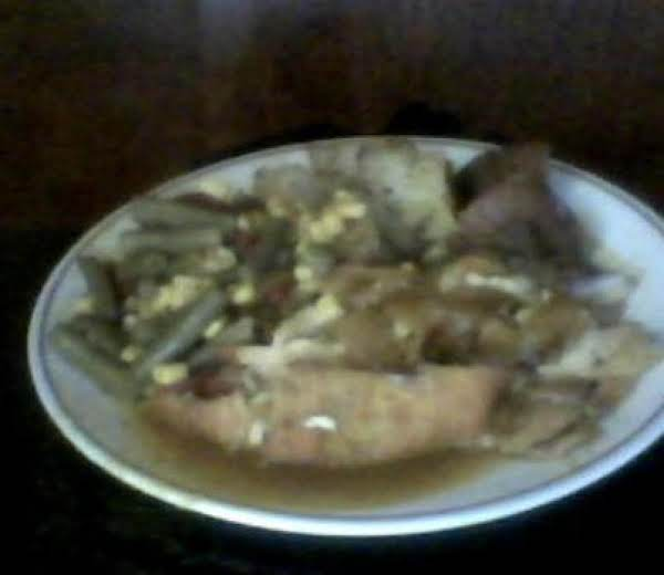 Evelin's Bake Chicken..with Teriyaki Sauce Ginger, Red Potatoes With Basil And Salt. Green Beans Tomatoes And Corn..
