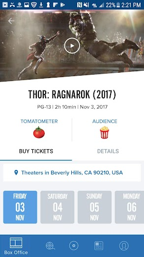 Screenshot 2 for Rotten Tomatoes's Android app'