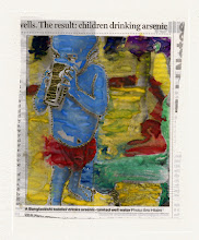 Photo: The Result: Children Drinking Arsenic. Water color and gold leaf on newspaper, (110 x 135 mm).