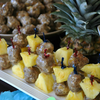 Rum Glazed Tropical Meatball Skewers