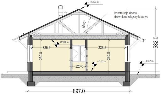 Terrier 4 z garażem - Przekrój