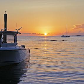 Florida's Sunset by Anastasiya Manuilov - Landscapes Travel ( ocean, florida, sunset, beach, boats, water )