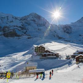 Kleine Scheidegg & Tourists by Augustin Anic - City,  Street & Park  Amusement Parks ( mountains, white, blue, winter, sunny )