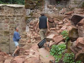 Photo: visite des travaux au château de Schoeneck, avec Marc Schampion