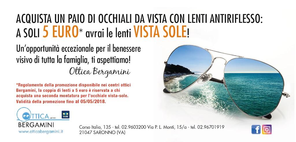 Acquista un paio di occhiali da vista on lenti antiriflesso: a soli 5 EURO avrai le lenti VISTA SOLE! Solo da Ottica Bergamini