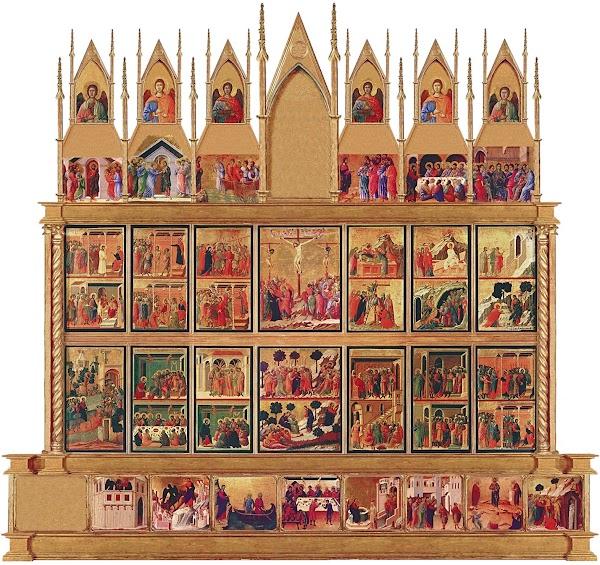 Duccio di Boninsegna, Maestà del Duomo di Siena (1308-1311),Ricostruzione virtuale del lato posteriore della Maestà