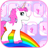 Pink Glitter Unicorn and Rainbows Keyboard