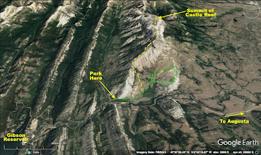 Photo: The yellow line shows the approximate route that Atticus and I followed to summit of Castle Reef. The green line is the approximate route that my wife and I followed on our hike earlier that month. The openess of the area makes it easy to pick reasonable routes.