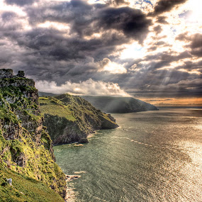 Valley of the Rocks by Luke Aylen - Landscapes Waterscapes ( clouds, hills, cliffs, sunset, sea )