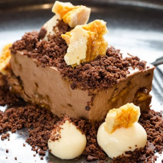 Reynold Poernomo's chocolate mousse recipe with honeycomb chunks and passionfruit