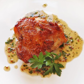 Crispy Sous-Vide Chicken Thighs With Mustard-Wine Pan Sauce