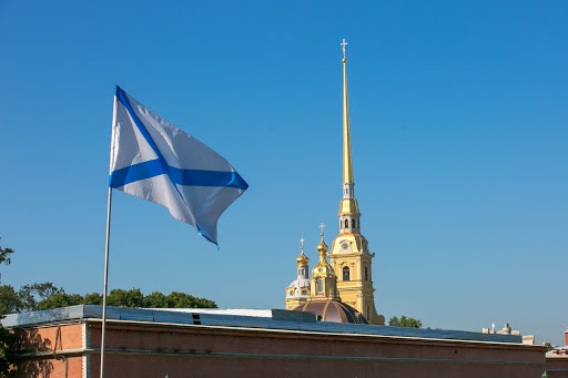 saints-peter-and-paul-cathedral-spire.jpg - The needle of Sts. Peter and Paul Cathedral is topped off by the figure of a flying angel bearing a cross.