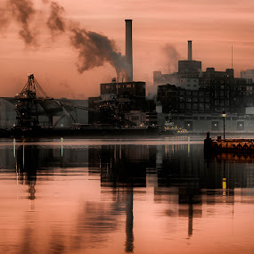 Factory Morning by Irv Freedman - Buildings & Architecture Other Exteriors ( harbor, baltimore, reflections, factory, architecture )