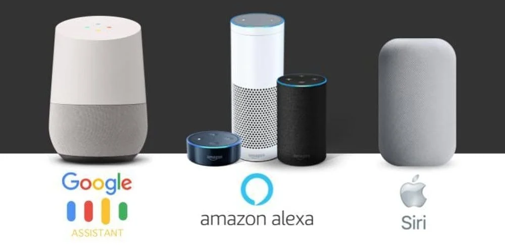 Google Assistant, Amazon Alexa and Apple Siri working as a voice assistant