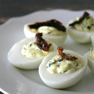 Spinach & Sun Dried Tomato Deviled Eggs