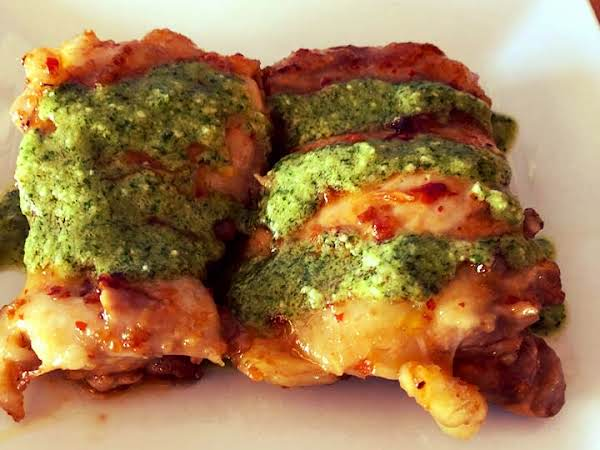 Asian Marinated Chicken With Cilantro Lime Pesto Recipe