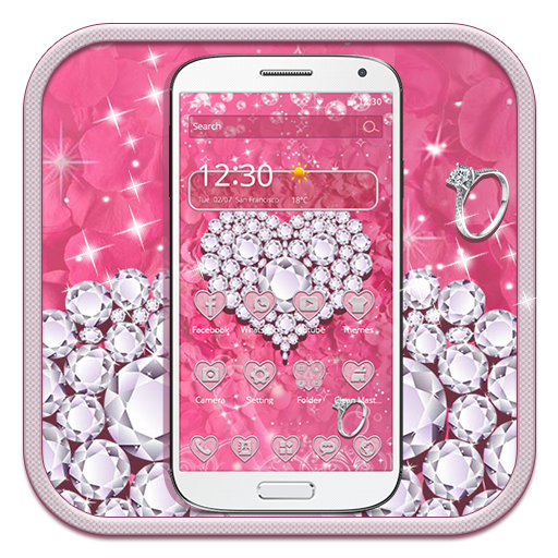 Pink Diamond Valentines Day Rose Theme app (apk) free download for Android/PC/Windows