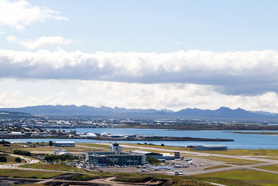 view on reykjavik city and airport of reykjavik