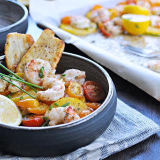 Roasted Shrimp + Polenta With Pancetta (or Halloumi) Crisps