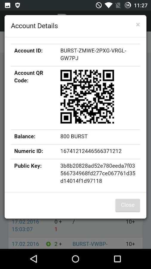 Burstcoin Wallet- screenshot