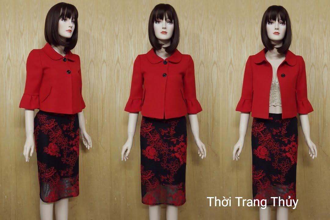 Áo khoác nữ dáng ngắn cổ cánh sen V510 Thời Trang Thuỷ