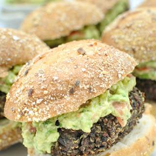 Red Quinoa and Black Bean Sliders with Easy Guacamole Spread