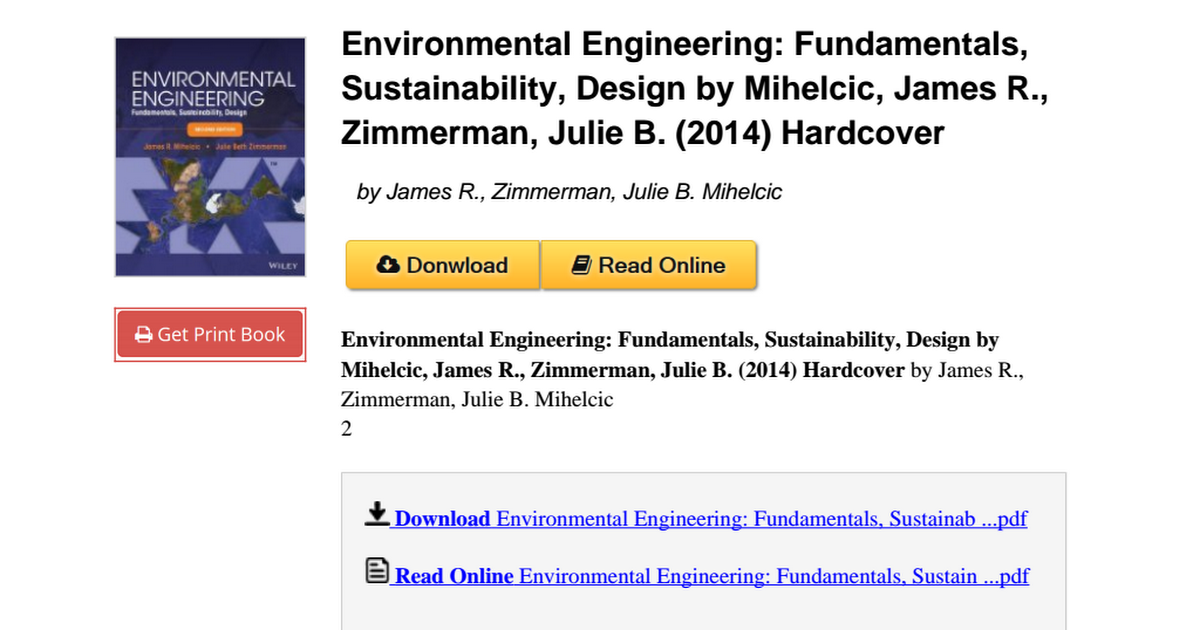 Environmental Engineering Fundamentals Sustainability Zimmerman B00pofs062 Pdf Google Drive