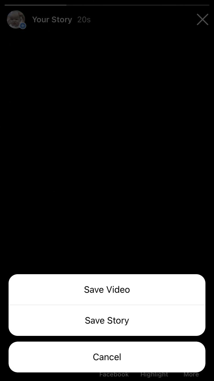 Seleccione 'Guardar video' o 'Guardar historia'